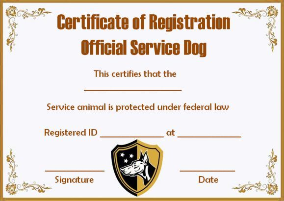Service Dog Papers Template  Service Dog Certificate Templates