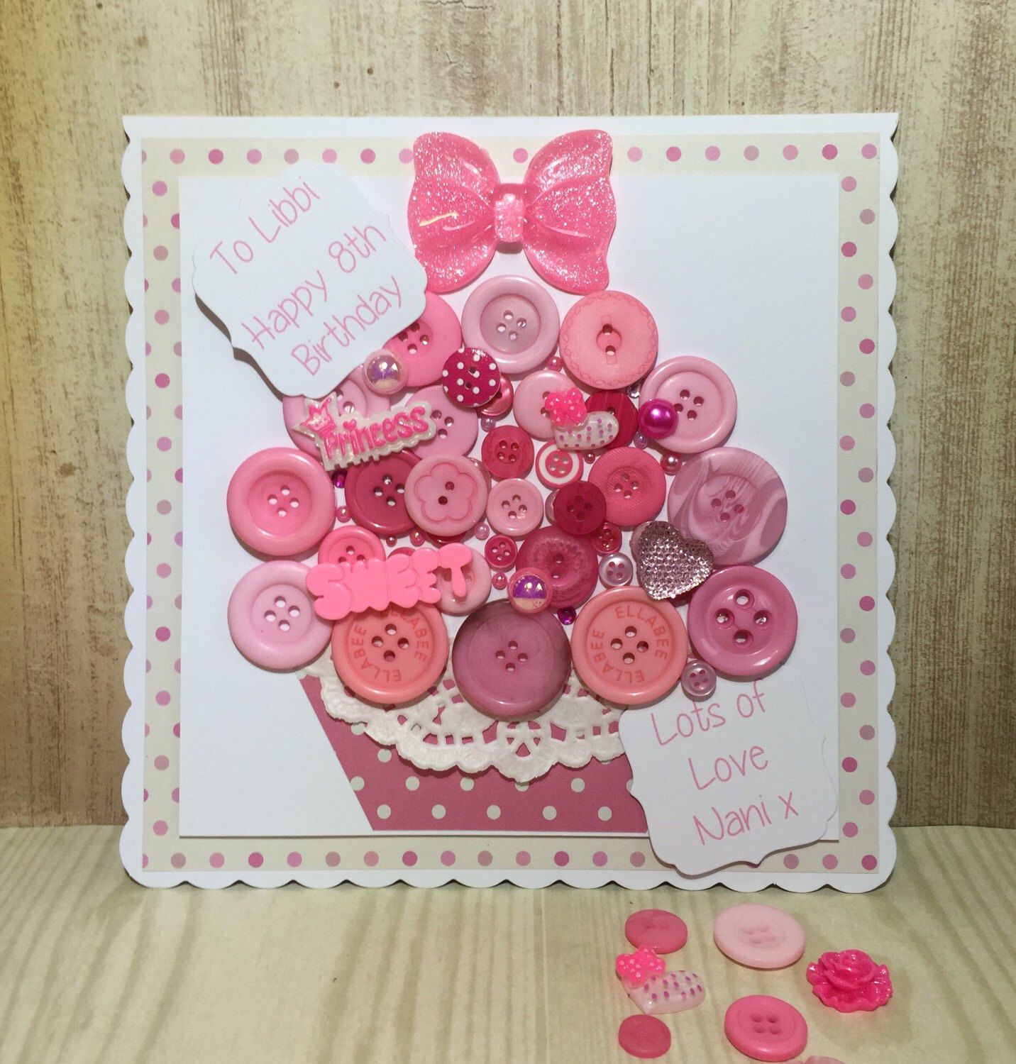 A personal favourite from my Etsy shop https://www.etsy.com/uk/listing/286576565/handmade-button-cupcake-birthday-card