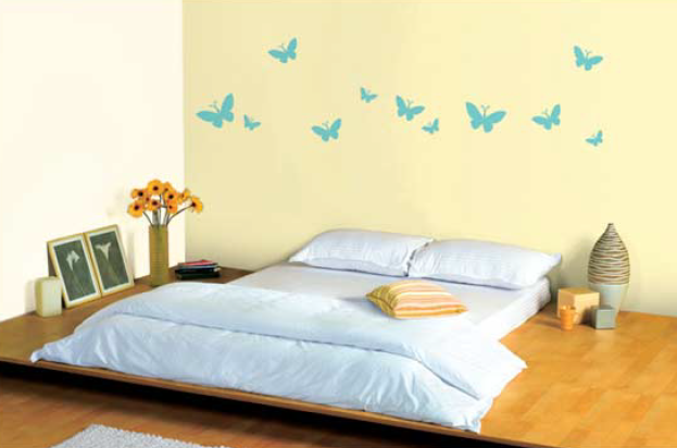 Bedroom wall in pebble white l136 butterfly stencil in for Bedroom stencils designs