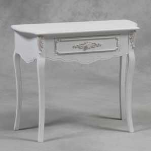 small distressed white side table