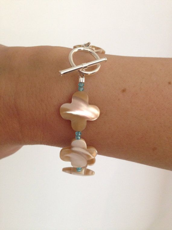 Genuine Mother of Pearl Clover with Blue by LelaBellaDesigns
