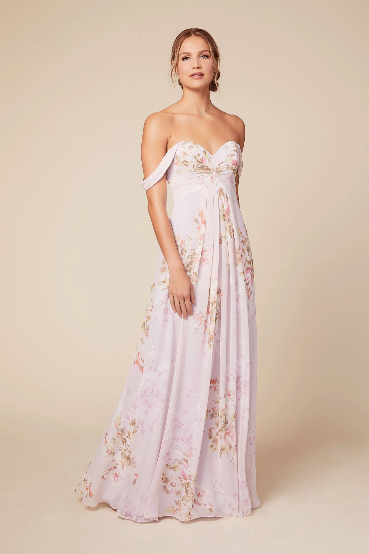 Empire Line Sweetheart Bodice Pleated Long Chiffon Bridesmaid Dress