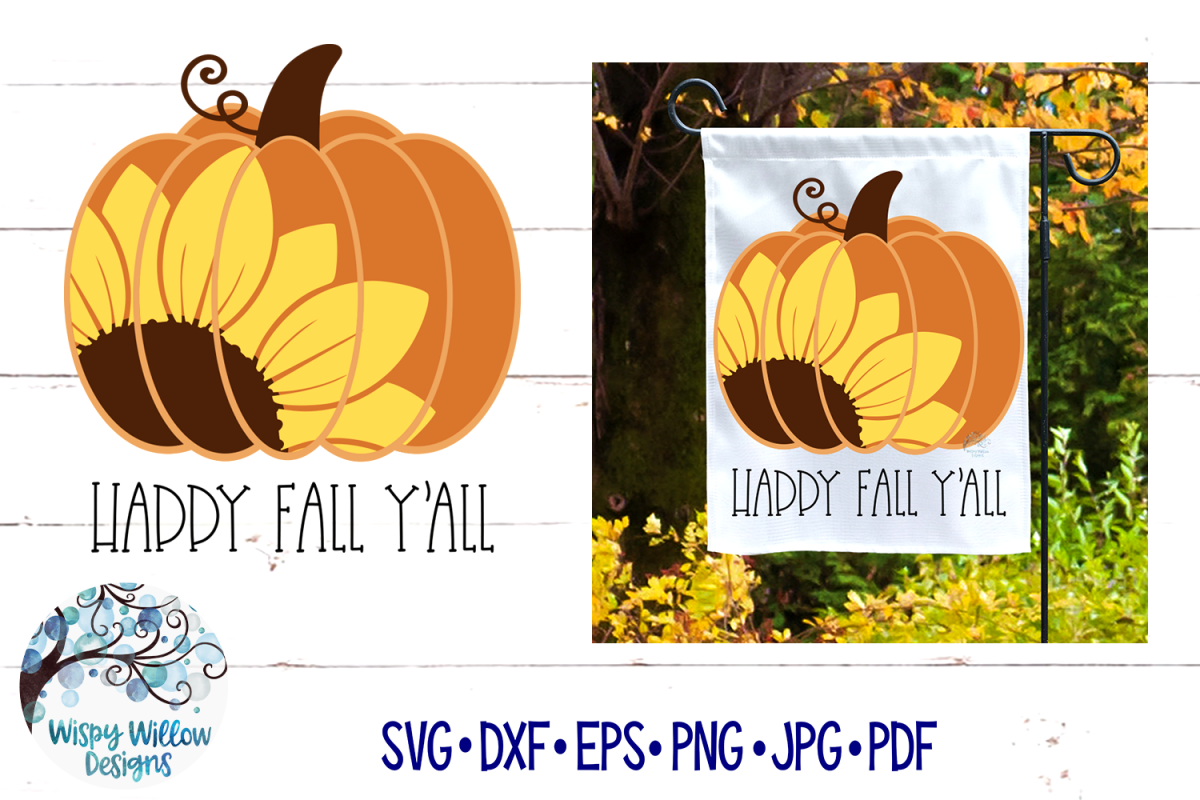 Happy Fall Y'All SVG Sunflower Pumpkin SVG Fall SVG