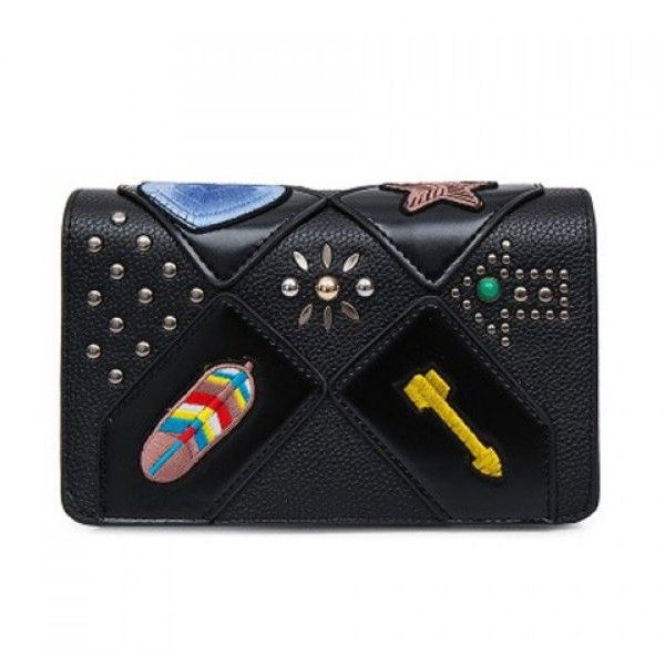 Patches Rivet Crossbody Bag Black ($22) ❤ liked on Polyvore featuring bags, handbags, shoulder bags, crossbody shoulder bag, crossbody handbags, patch purse, cross body and crossbody purses