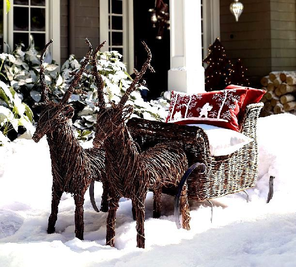 outdoor reindeer sleigh christmas porch outdoor christmas decorations christmas holidays xmas reindeer