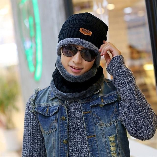 663dd98fc79 2017 Arrival Beanies With Scarf Knitted Hat Men s Winter Hats For Men Caps  Warm Moto Fur