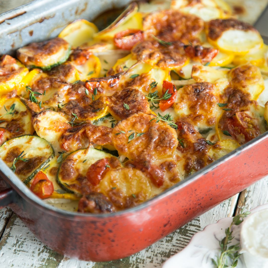 Photo of Courgette and potato bake with goat cheese