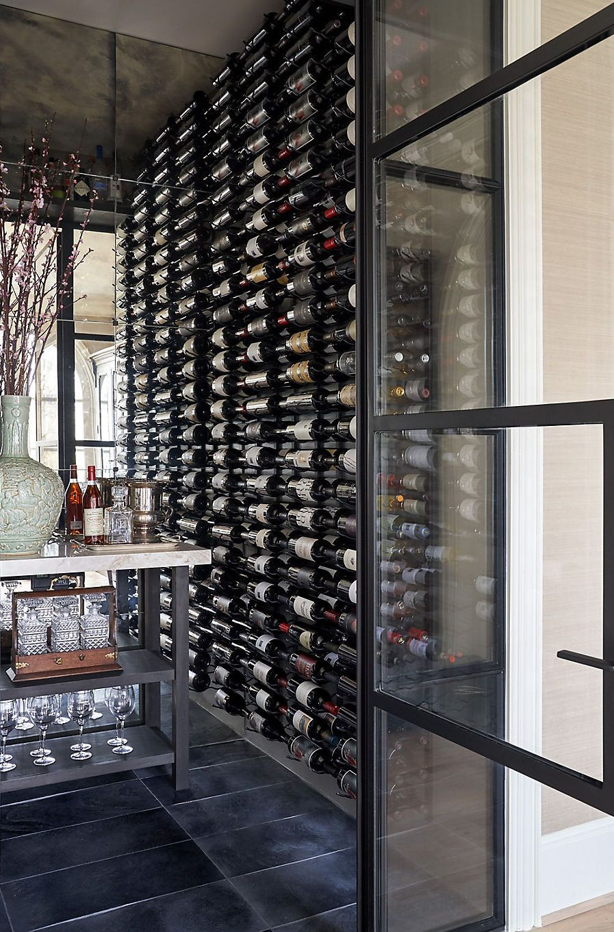 Trad With A Touch Of Coastal Ease In Dallas Glass Wine Cellar