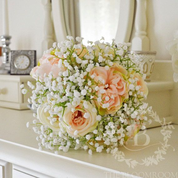 Baby\'s breath bouquet, Rose bouquet, Champagne, Light Pink, Rose ...