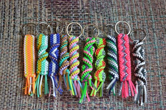 Lot Of 10 Rexlace Boondoggle Gimp Plastic Lace Keychains
