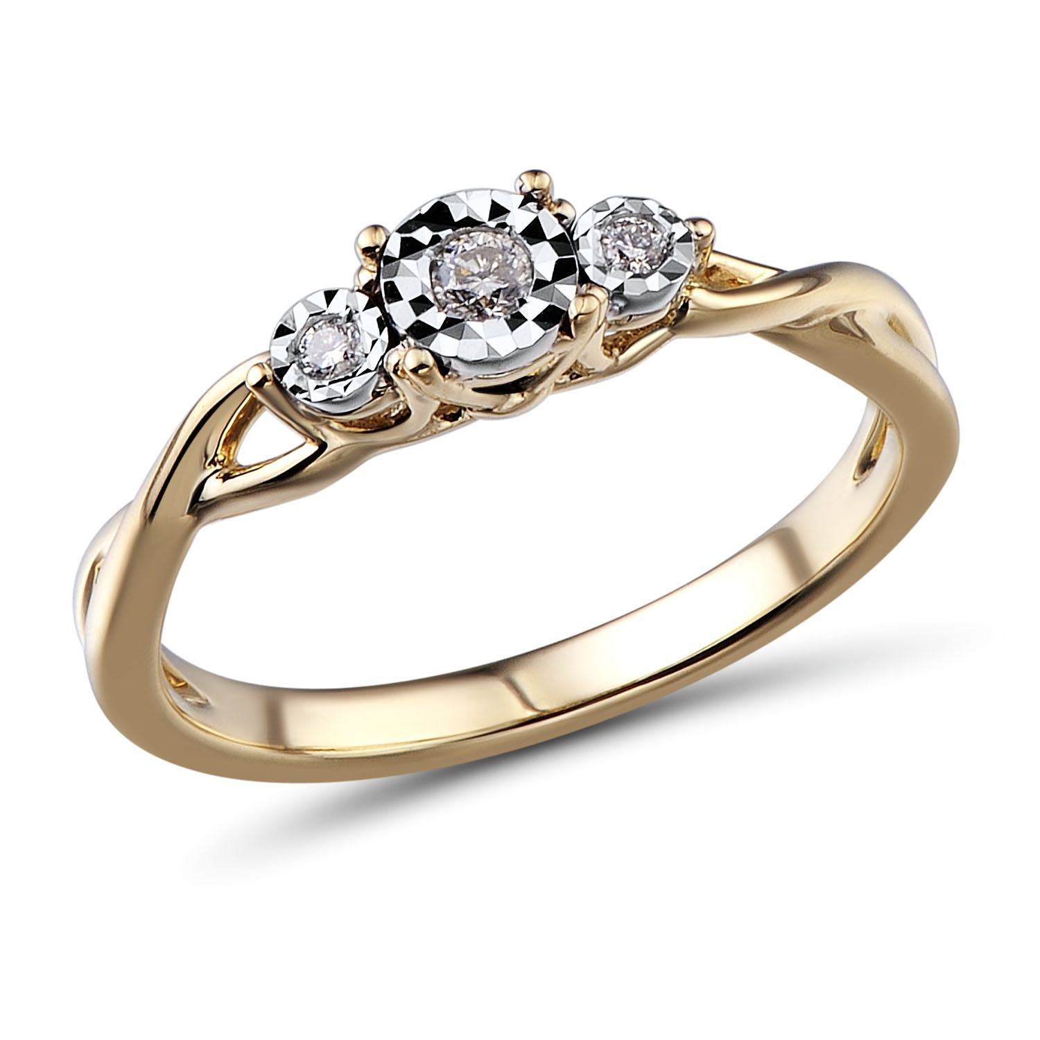 Diamond Promise Ring 10k Yellow Gold And Plated White Gold Website Diamond Promise Rings Diamond Promise Three Stone