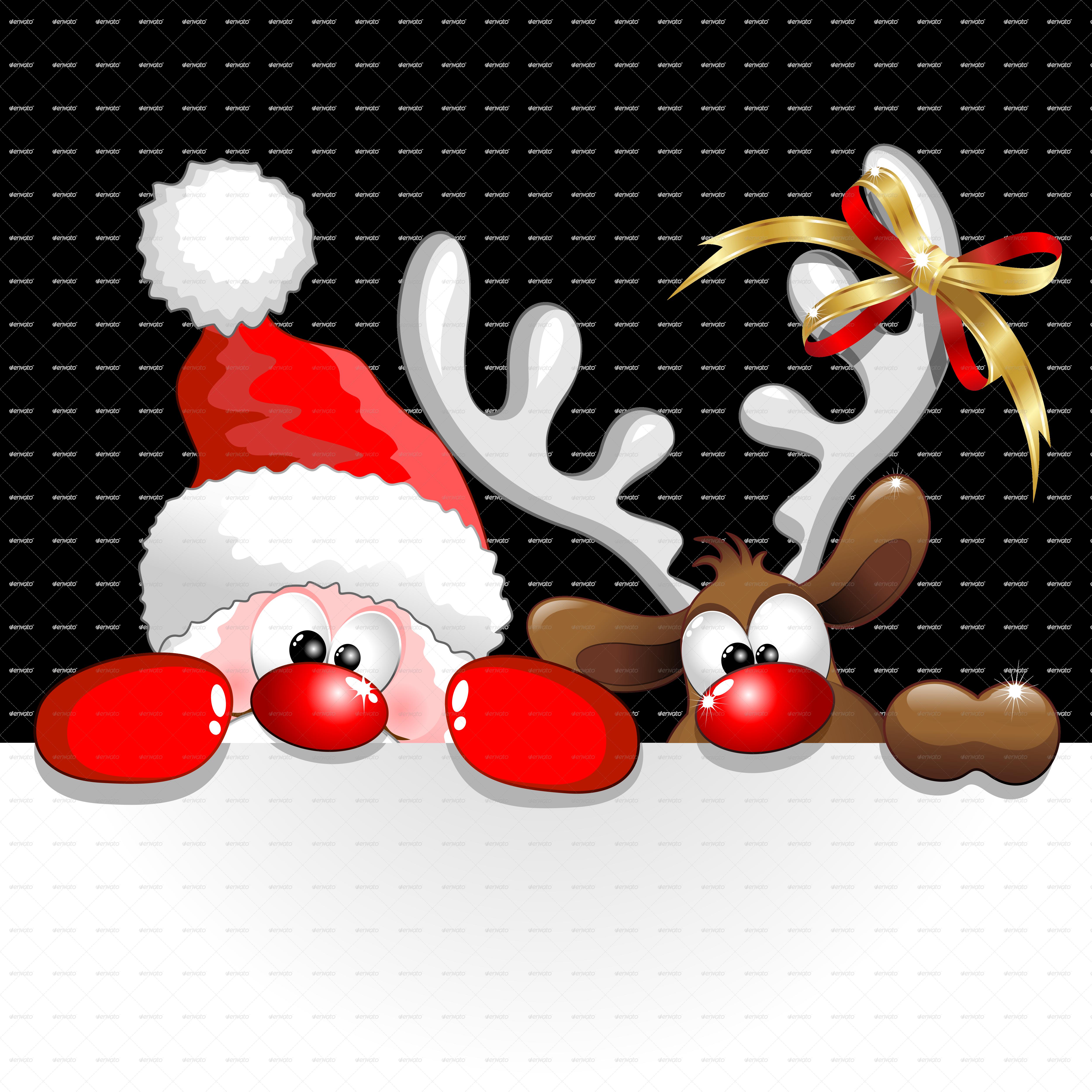 buy christmas santa and reindeer cartoon by bluedarkat on graphicriver santa and reindeer cartoon with - Christmas Santa Reindeer