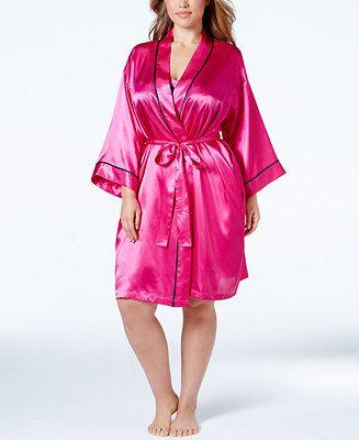 Morgan Taylor Plus Size Satin Love Wrap Robe - Silk Robe - SLP . 015ab2c3f