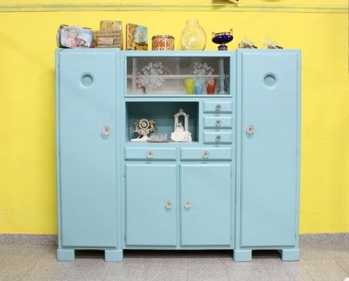 Credenze Vintage Colorate.Splendido Mobile Credenza Vetrina Mettitutto Decapato