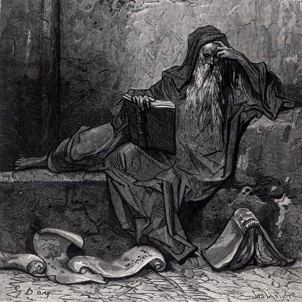 El mago Merlín en un grabado de Gustave Doré.