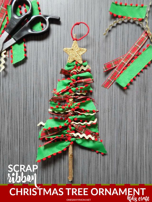 Scrap Ribbon Christmas Tree Ornaments Super Simple Diy Craft For Kids To Make Gift This Holiday Ornaments Diy Kids Kids Ornaments Christmas Tree Ornaments