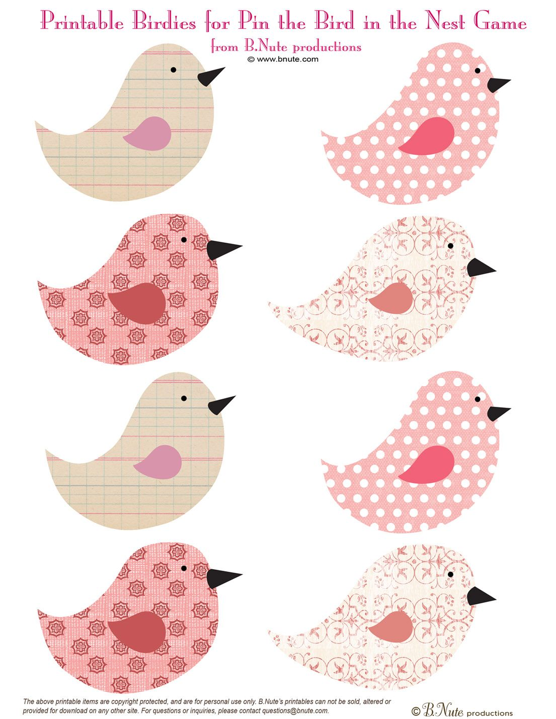 bnute productions: Free Printable Pin the Birdie in the Nest Game ...
