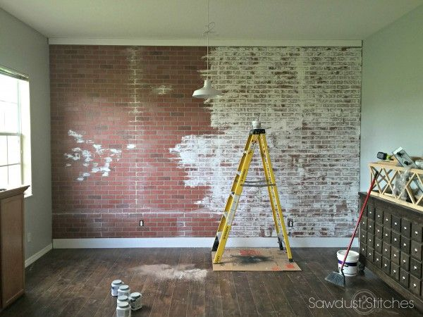 How To Faux Brick Wall Sawdust 2 Stitches Faux Brick Walls Brick Wall Decor Brick Wall Paneling
