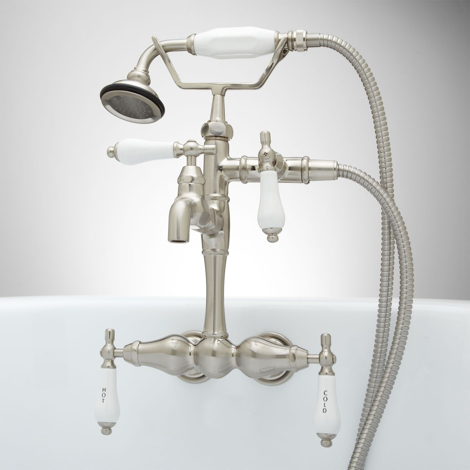 Tub Wall Mount Faucet And Hand Shower Kit Tub Faucets Bathroom