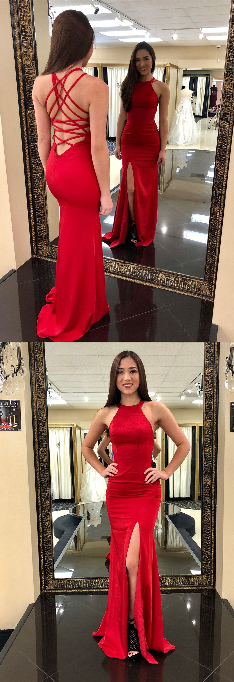 Red formal evening dress prom dress mermaid long prom dress