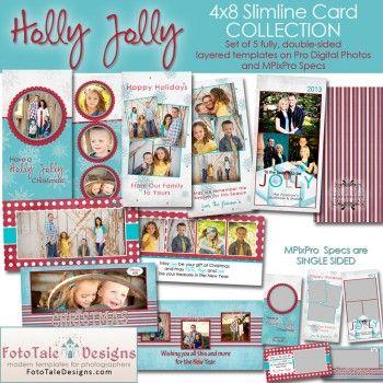 Holly Jolly Slimline 4x8 Greeting Card Collection Greeting Card Collection Greeting Card Template Cards