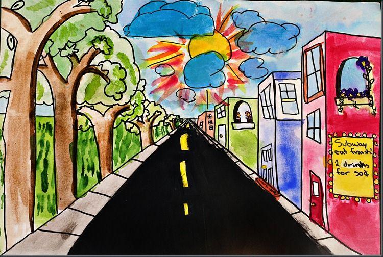 One Point Perspective! and zebra progress! | Art classroom ... Easy One Point Perspective Drawing For Kids