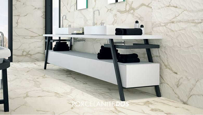 We Love This Total White Marble Effect Porcelain Tile Bathroom