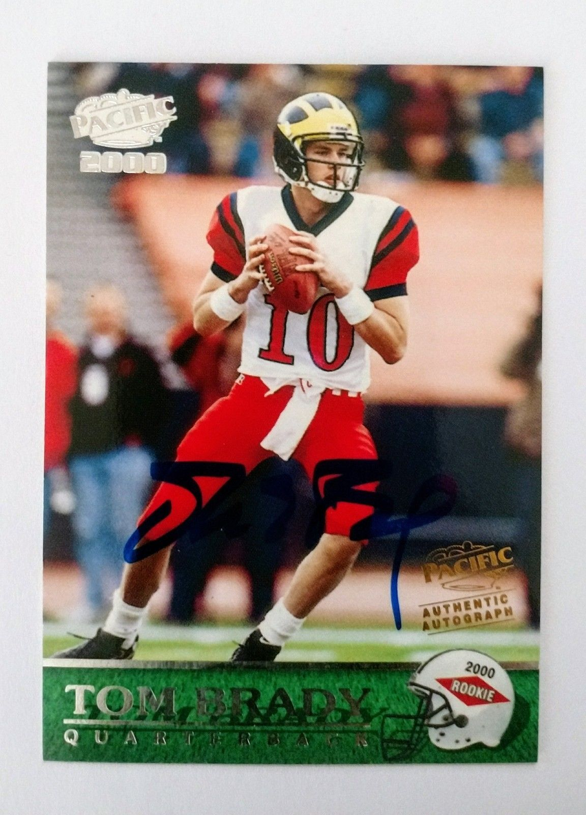 2000 pacific tom brady authentic autograph rookie card rc