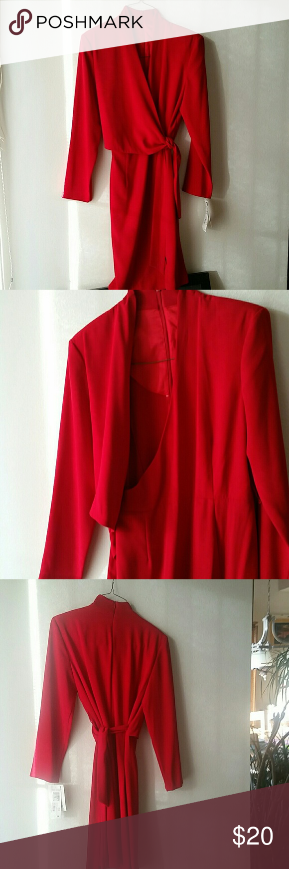 Beautiful red wrap dress nwt red wrap dress cherry red and wrap