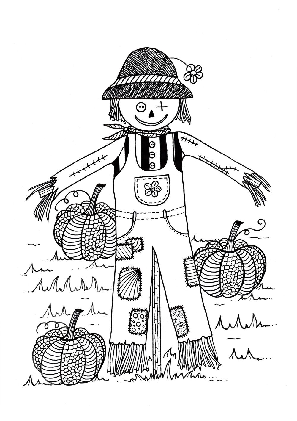 Scarecrow in Pumpkin Field Adult Coloring Page | Scarecrows, Adult ...