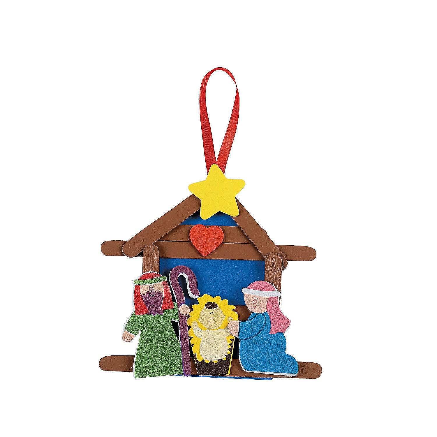 Religious Christmas Craft Ideas Part - 17: Nativity+Craft+Stick+Religious+Christmas+Ornament+Craft+Kit+-