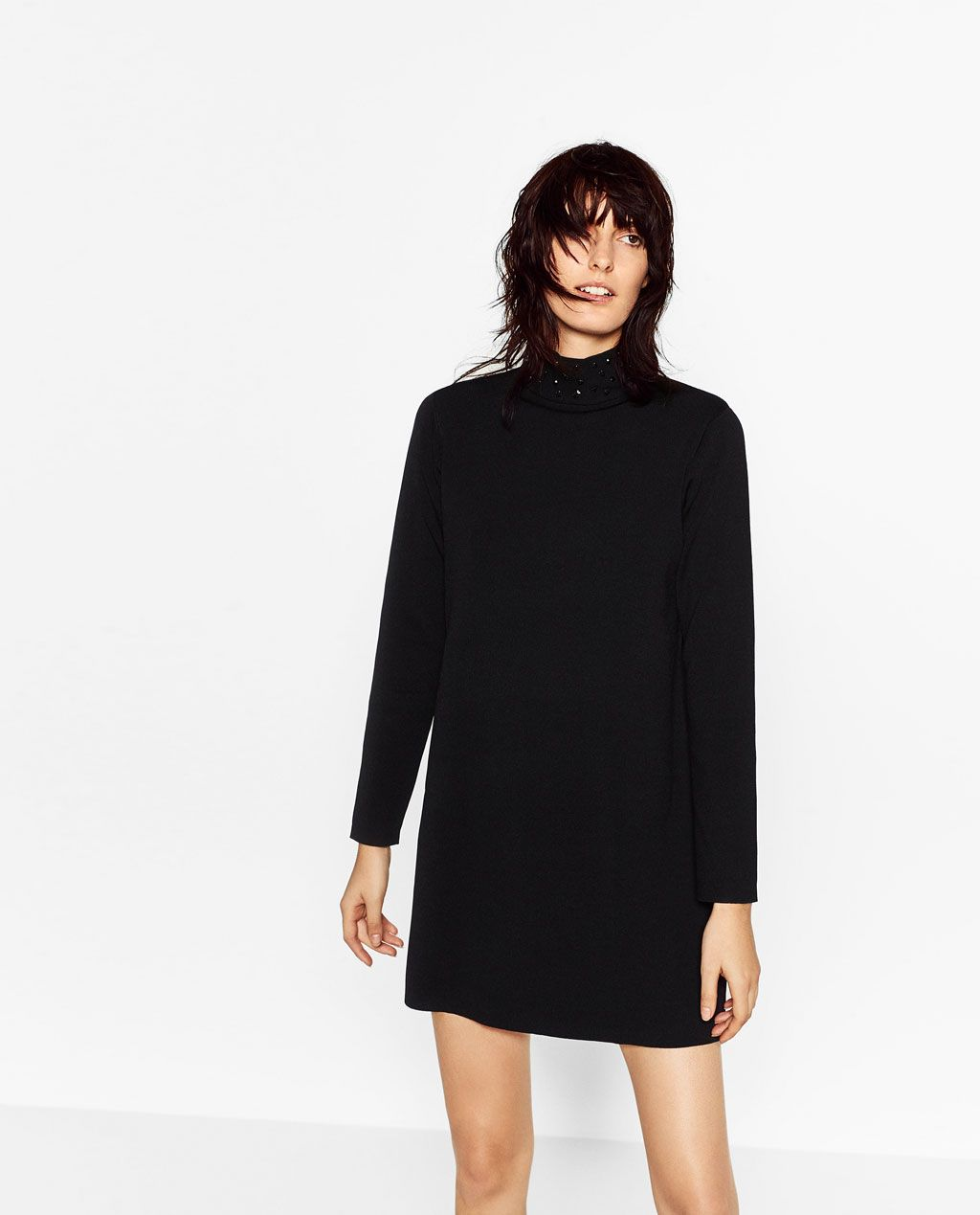 Image 1 of DRESS WITH DETAILED NECKLINE from Zara ...