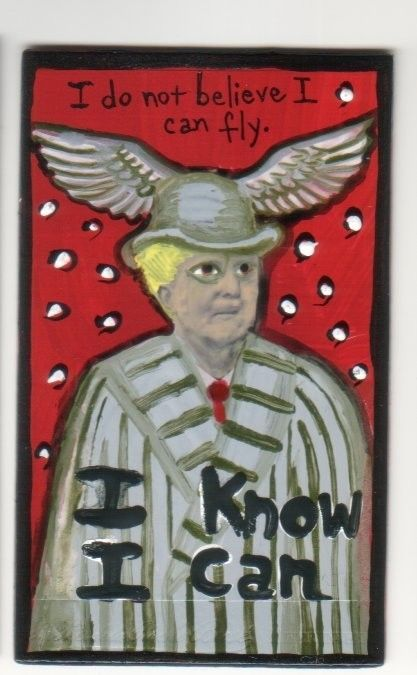 I Know I Can Fly small original US outsider artist brut painting mixed media #NaivePrimitive