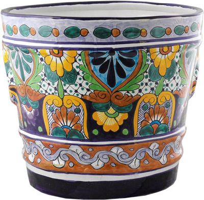 Mexican Talavera Flower Planter Large Hand Painted Pot