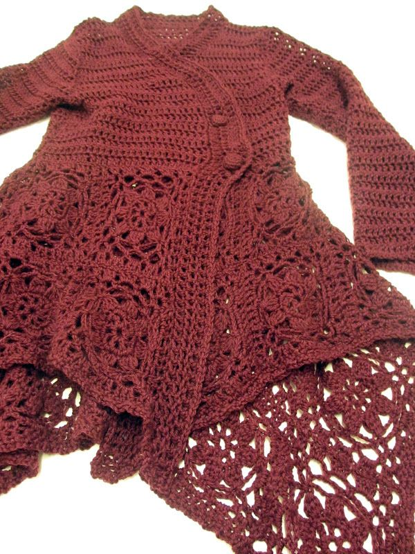 Crocheted Sweater...Beautiful. Inspiration! (Can't understand a word of the blog)