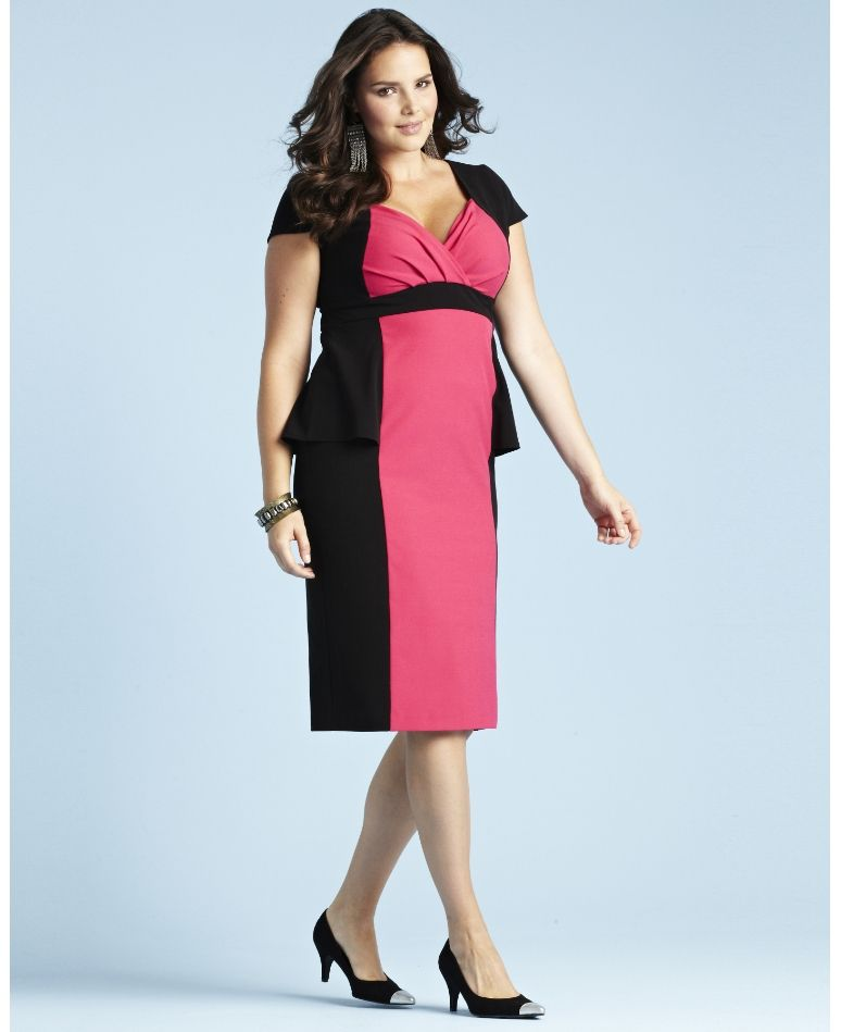 Glamorosa Dress Very Voluptuous Fit Colorblock Dress Plussize