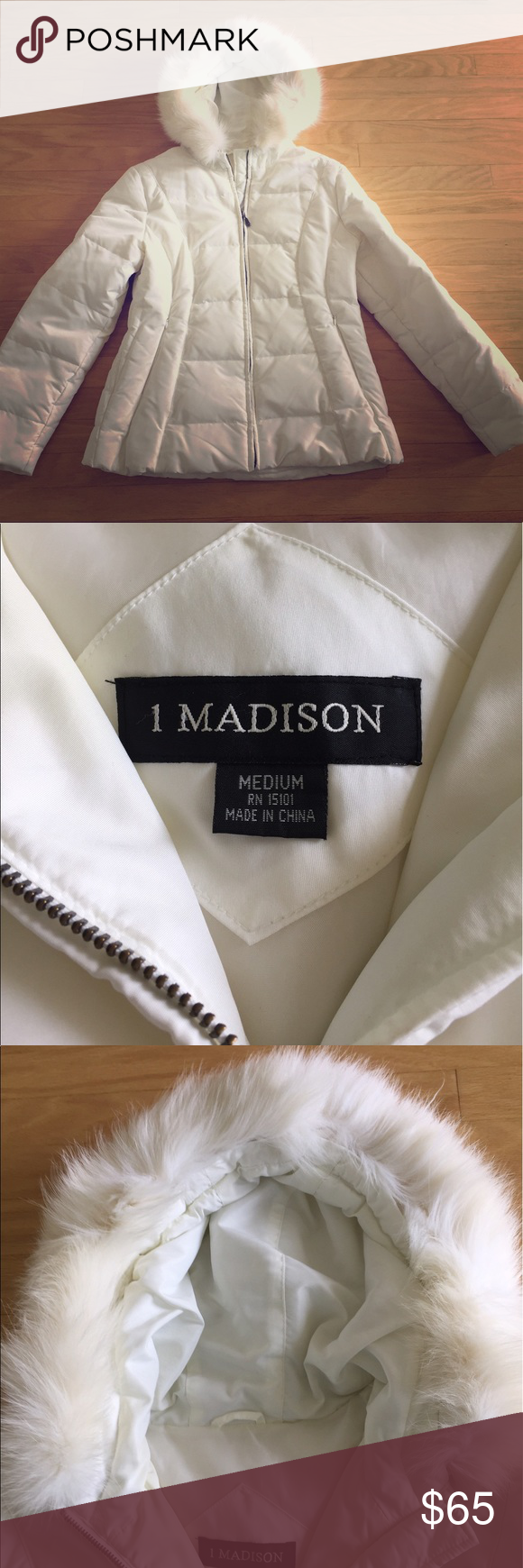 White down coat, with fur hood Looks brand new, completely white with very soft fur lining the hood. No stains, no marks, no holes. NWOT. Brand: Madison 1 bought from Nordstrom. Size: Medium. 1 Madison Jackets & Coats Puffers