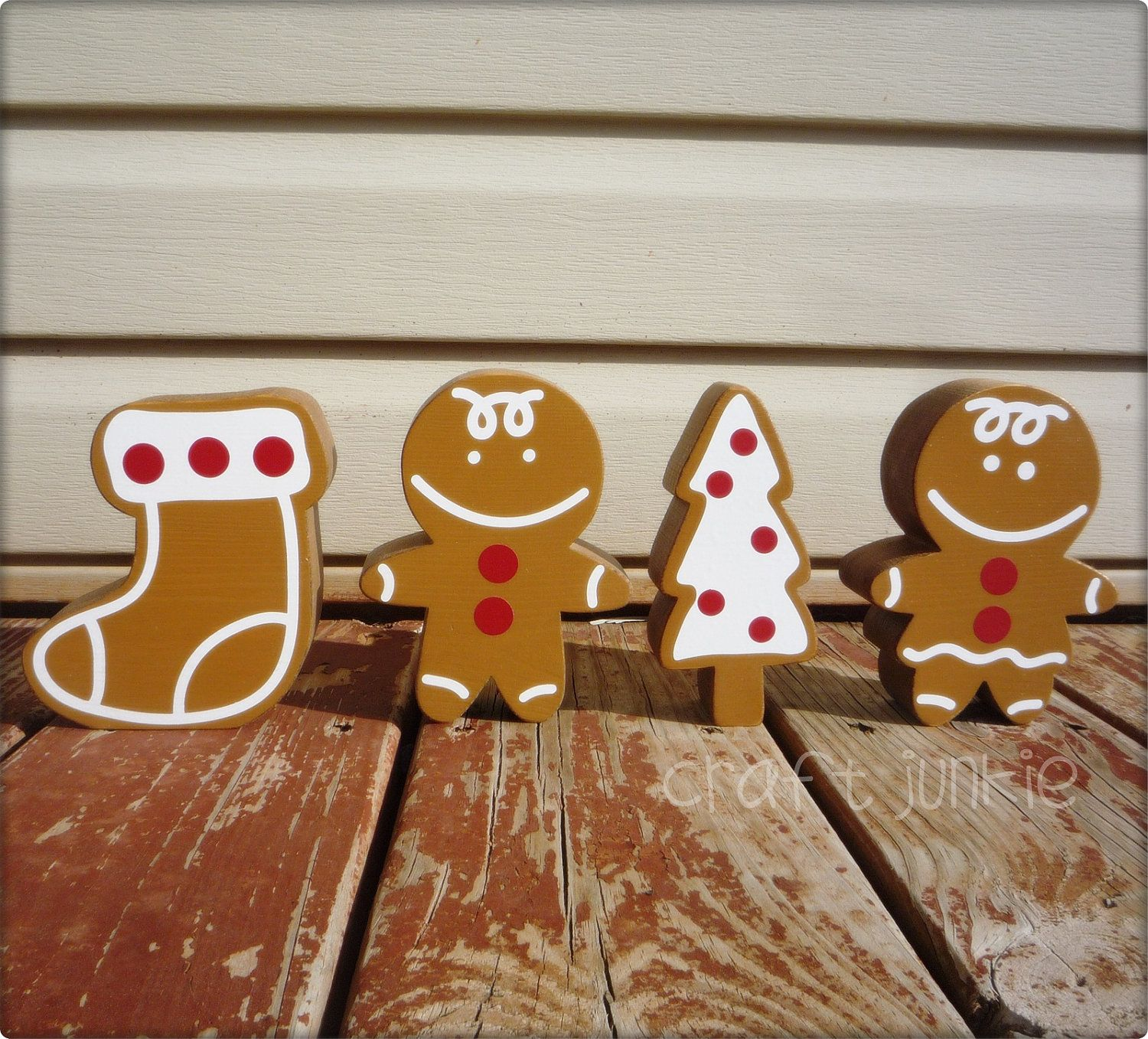 Wooden Gingerbread Boy, Girl, Stocking And Christmas Tree Cookie Cutouts