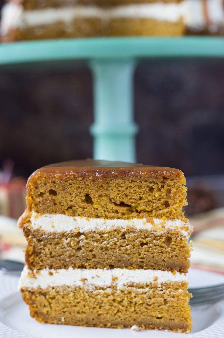 Naked Pumpkin Cake with Caramel Buttercream @FoodBlogs