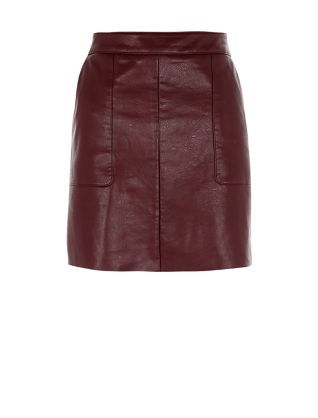 Burgundy Leather-Look A-Line Skirt | Shops, Leather and A line