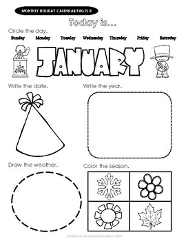 Elementary HOLIDAY MONTHLY CALENDAR Worksheet Pages II in