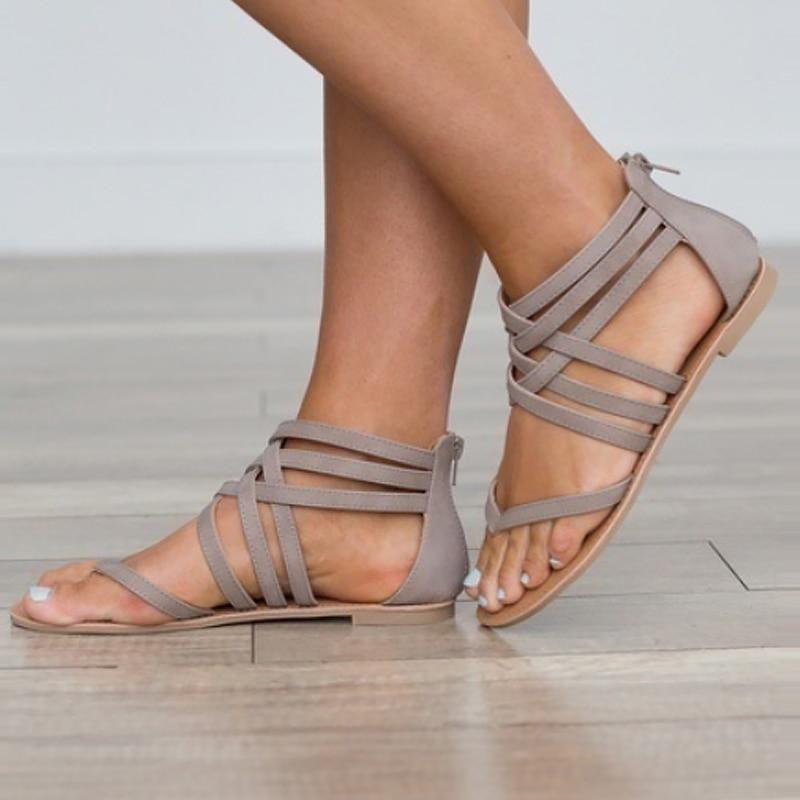 Plus Size 9 10 5 Cover Heel Sandals Woman Zip Designer Flip Flops Cross Tied Open Toe Flat Sandals Female Shoes Summer In 2020 Sandal Fashion Womens Sandals Womens Summer Shoes