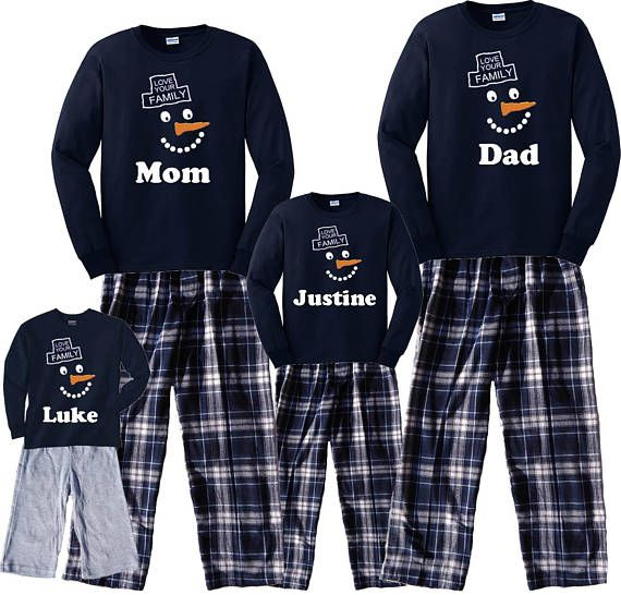 Personalized Happy Snowman Love Your Family Matching Winter Pajamas    Playwear Clothing in Children 64d936513