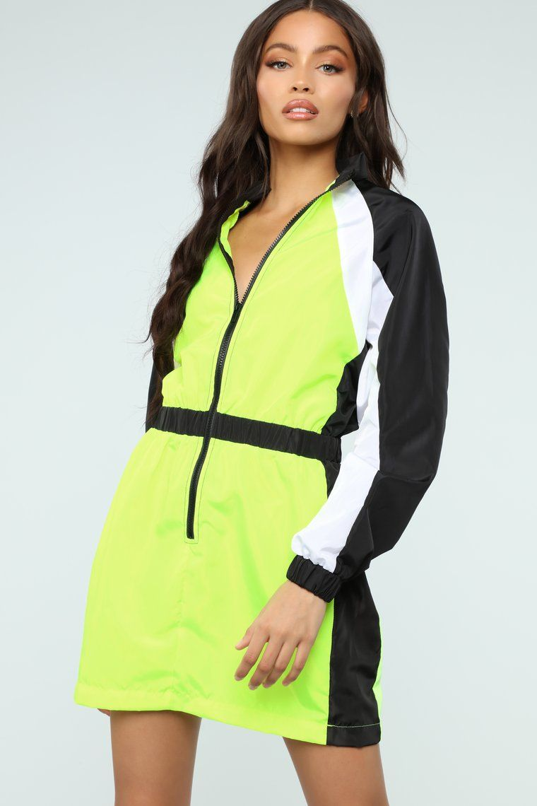 First To Finish Colorblock Dress Neon (With