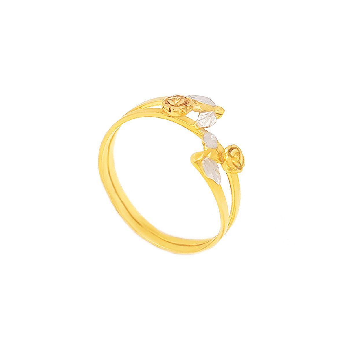 Belissimo O Anel 3 Cores Em Ouro 18k Com 2 Flores E Um Perfeito