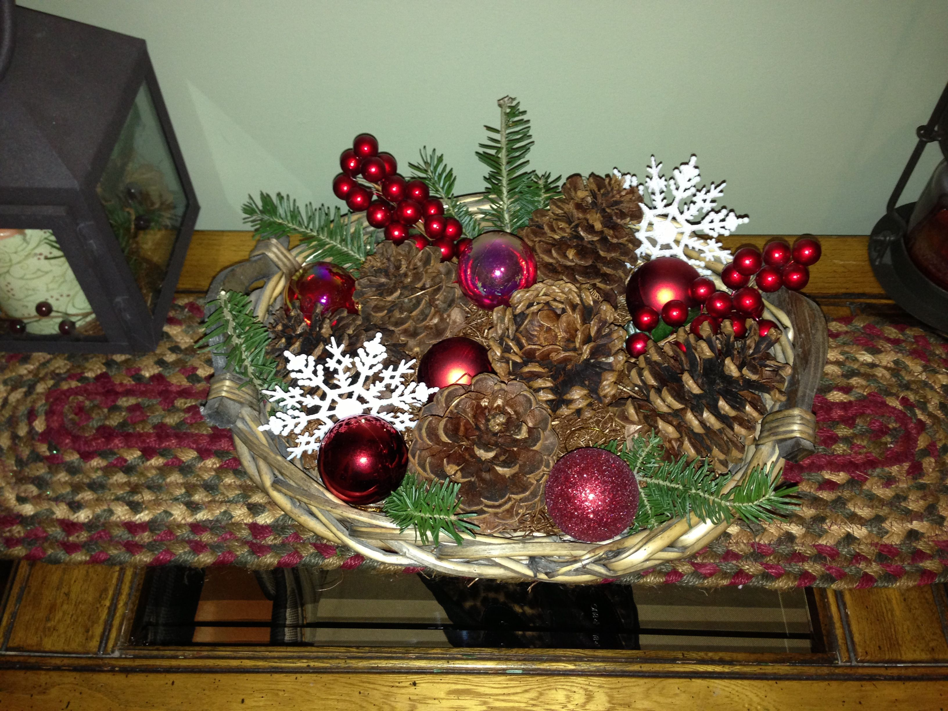 Christmas Table Decorations Basket Snowflakes From Dollar Tree Greenery Small Or Christmas Table Decorations Banquet Table Decorations Table Decorations