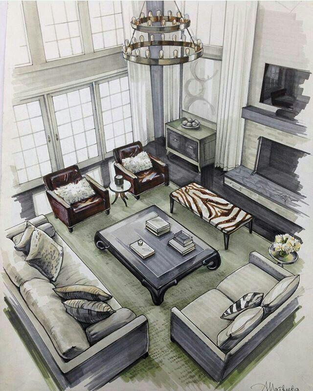 Indoor Modern Interior Drawing Powered By JeffThings SkizzenZeichnungen InnenarchitekturArchitektur