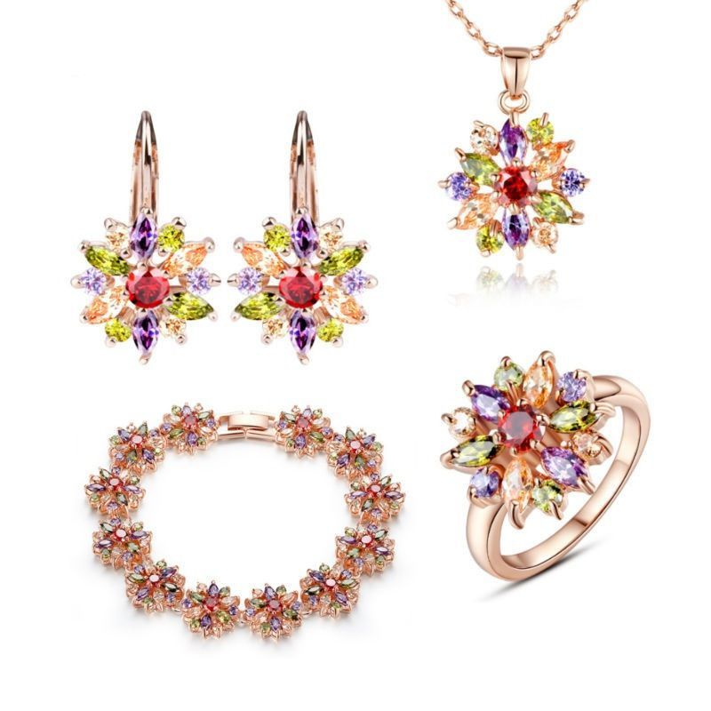 3-Color Rose Gold Plated 4-Piece Jewelry Set- SAVE $50.00