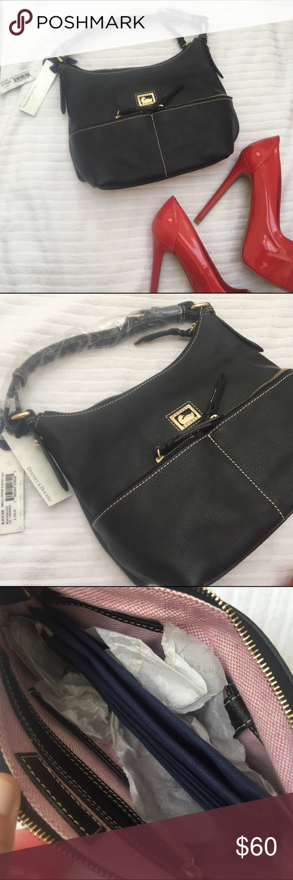 NWT Small Dooney and Burke Bag Brand new, still in packaging! Comes with tags attached, and dust bag included. Beautiful black leather, no damage at all! Retails for $238. Measures 13 inches wide and 9 inches deep. Need this gone!   Closet details Same day shipping if purchased before 4pm , excluding weekend and holidays no trades  no holds  offers only through offer button  amazing bundle deals can be made with or without bundle feature  Happy poshing!  Dooney & Bourke Bags Shoulder Bags