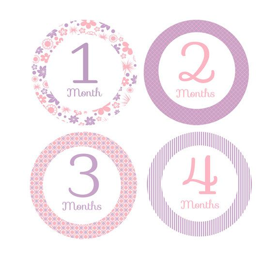 Little Girl Printable Baby Month Stickers - Pink and Purple - Milestone Monthly Stickers -  Photo Prop or Baby Shower Gift - Iron Ons